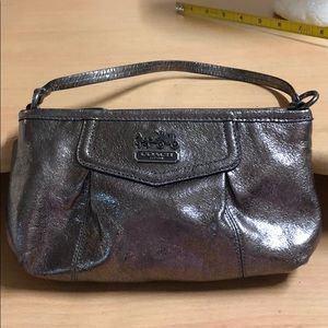 Coach Clutch Wristlet Pewter Leather